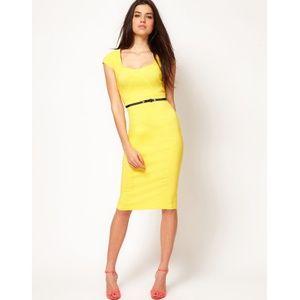 ASOS Yellow Cap Seeve Midi Pencil Dress with Belt